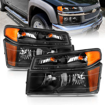 Anzo 111451 - 2004-2006 Chevy Colorado Crystal Headlight Black Set (4pcs) Amber (OE Replacement)