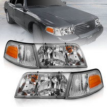 Anzo 121556 - 1998-2005 Ford Crown Victoria Crystal Headlight Chrome With Bumper Light (OE)