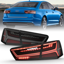 Anzo 321351 - 2012-2018 Audi A6 LED Taillight Black Housing Smoke Lens 4 pcs (Sequential Signal)