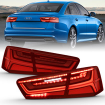 Anzo 321353 - 2012-2018 Audi A6 LED Taillight Black Housing Red/Clear Lens 4 pcs (Sequential Signal)