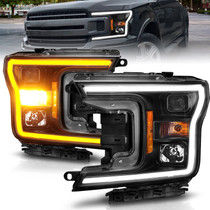 Anzo 111509 - 2018-2020 Ford F-150 Projector Headlight w/ Plank Style Switchback Black Housing