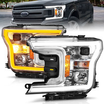 Anzo 111510 - 2018-2020 Ford F-150 Projector Headlight w/Plank Style Switchback Chrome Housing