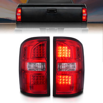 Anzo 311399 - 2014-2018 GMC Sierra LED Tail Lights Black Housing Red/Clear Lens