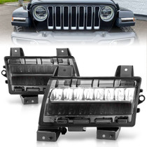 Anzo 511085 - 2018-2021 Jeep Wrangler LED Side Markers Chrome Housing Smoke Lens w/ Sequential Signal