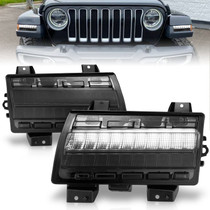 Anzo 511087 - 2018-2021 Jeep Wrangler LED Side Markers Chrome Housing Smoke Lens w/ Sequential Signal