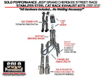"Solo Performance 3"" WK1 Street-Race-XJ3 Catback Exhaust- 2006-2010 Jeep Grand Cherokee SRT8  (6.1L Hemi) - 991712"