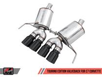 AWE Touring Edition Valve Back Exhaust with Diamond Black Quad Tips (for cars with AFM Valves) - 2017+ Chevy Corvette Stingray, Grand Sport & Z06 (6.2L V8) - 3015-43141
