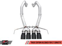 AWE Track Edition Axleback Exhaust Quad Diamond Black Tips (for cars without AFM Valves) - 2017+ Chevy Corvette Stingray, Grand Sport & Z06 (6.2L V8) - 3020-43081