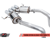 AWE Touring Edition Axleback Exhaust Quad Silver Tips (for cars without AFM Valves) - 2017+ Chevy Corvette Stingray, Grand Sport & Z06 (6.2L V8) - 3015-42133