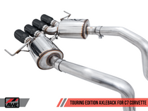 AWE Touring Edition Axleback Exhaust Quad Diamond Black Tips (for cars without AFM Valves) - 2017+ Chevy Corvette Stingray, Grand Sport & Z06 (6.2L V8) - 3015-43143