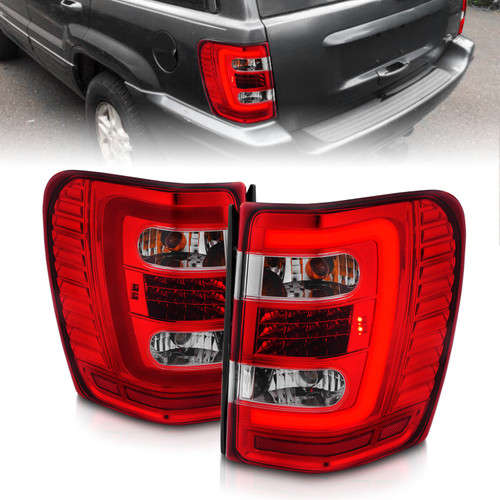 Anzo 311396 - 1999-2004 Jeep Grand Cherokee LED Tail Lights w/ Light Bar Chrome Housing Red/Clear Lens