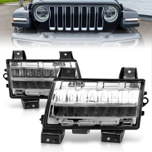 Anzo 511086 - 2018-2021 Jeep Wrangler LED Side Markers Chrome Housing Clear Lens w/ Sequential Signal