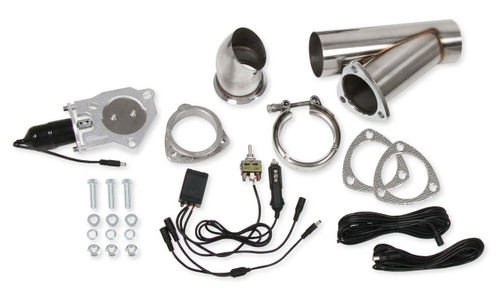 "Hooker Street Tease Stainless Round 3"" Electric Cutout With Y-Pipe and Toggle Switch (Single  Kit)"