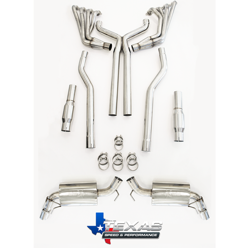 """Texas Speed 304 Stainless 1 7/8"""" Long Tube Headers with High Flow Cats & Full 3"""" Exhaust (with X-pipe)  - 2010-2015 Chevy Camaro SS - TSPG5304C-178-CAT"""