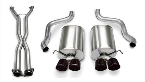 "Corsa Xtreme Catback Exhaust with X-pipe & Quad 3.5"" Black Diamond Tips - 2005-2008 Chevy Corvette (6.0L & 6.2L V8) - 14469CB6BLK"