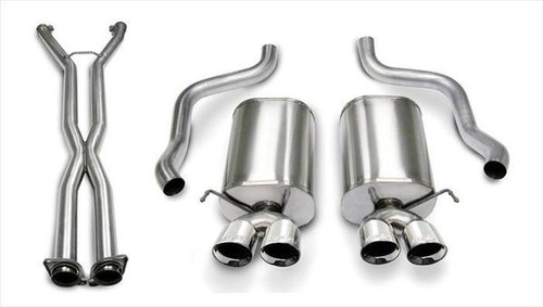 "Corsa Sport Catback Exhaust with X-pipe & Quad 3.5"" Polished Tips - 2005-2008 Chevy Corvette (6.0L & 6.2L V8)"