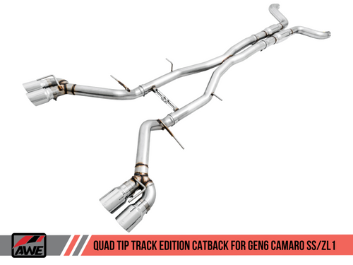 AWE Track Edition Catback Exhaust (Resonated) with Polished Quad Tips - 2016+ Chevy Camaro SS & ZL1 (6.2L V8)