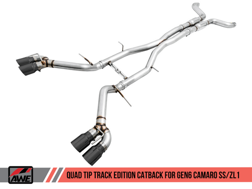 AWE Track Edition Catback Exhaust (Resonated) with Black Diamond Quad Tips - 2016+ Chevy Camaro SS & ZL1 (6.2L V8)