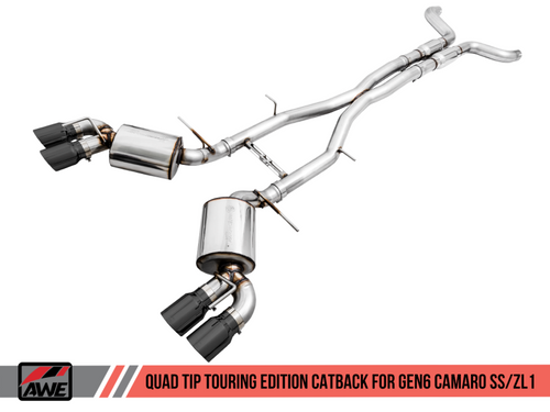 AWE Touring Edition Catback Exhaust (Resonated) with Black Diamond Quad Tips - 2016+ Chevy Camaro SS & ZL1 (6.2L V8)