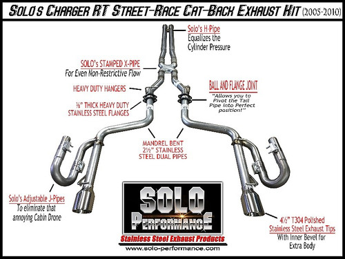 "Solo Performance 2.5"" Street Race Catback Exhaust- 2005-2010 Dodge Charger, Magnum & Chrysler 300 (5.7L V8)"
