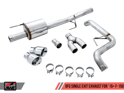 """AWE 0FG Single Side Exit Catback with Twin 4.5"""" Polished Silver Tips - 2015+ Ford F-150 (2.7L/3.5L Ecoboost & 5.0L V8) - 3015-22066"""