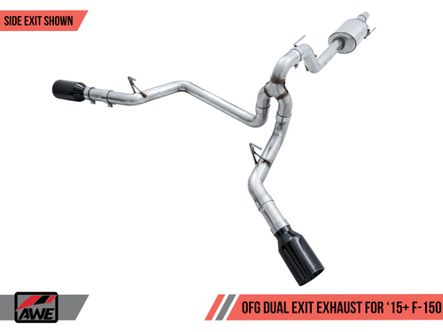 """AWE 0FG Dual Side Exit Catback with Single 5"""" Polished Silver Tips - 2015+ Ford F-150 (2.7L/3.5L Ecoboost & 5.0L V8) - 3015-32104"""