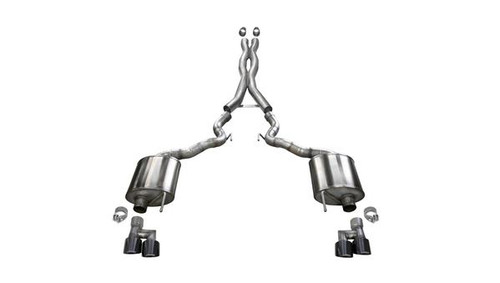 """Corsa Sport Catback Exhaust with Quad 4"""" Black Tips (for Cars Without Valves) - 2018+ Ford Mustang GT Convertible (5.0L V8) - 21047BLK"""