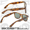 Motorcycle Sunglasses - Blues Brothers - Tortoise - Green Lens