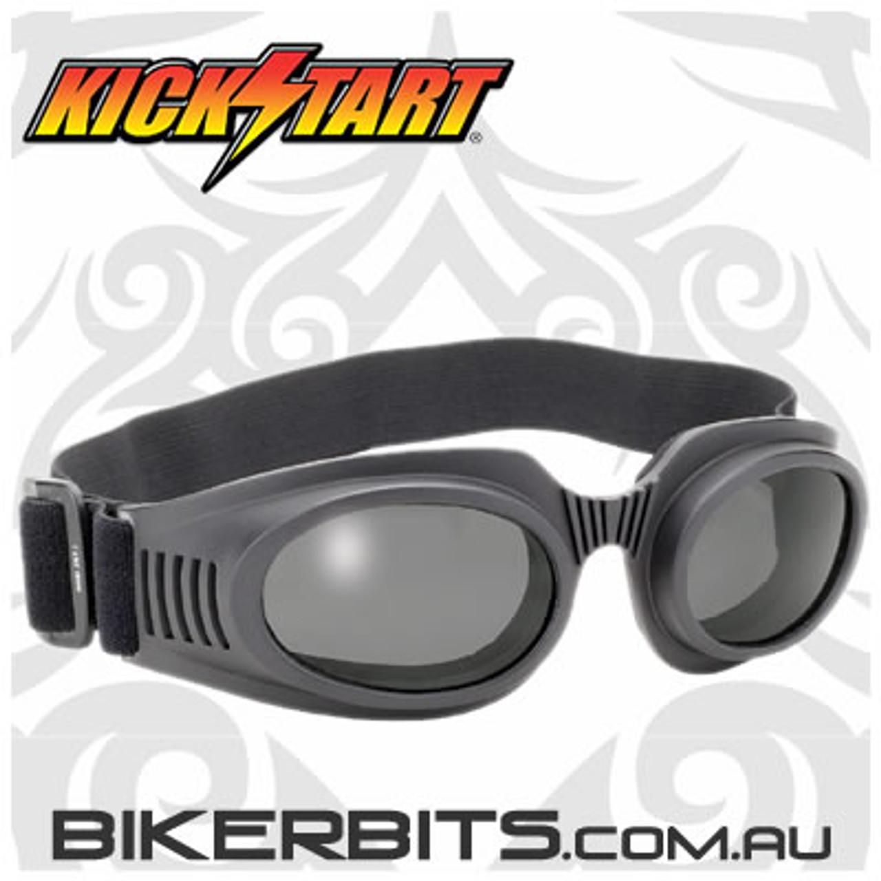 Motorcycle Goggles - Kickstart Thunder Cat - Smoke/Black