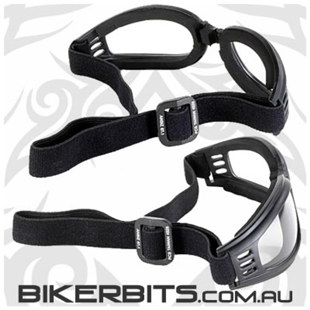 Motorcycle Goggles - Kickstart Nomad - Clear/Black
