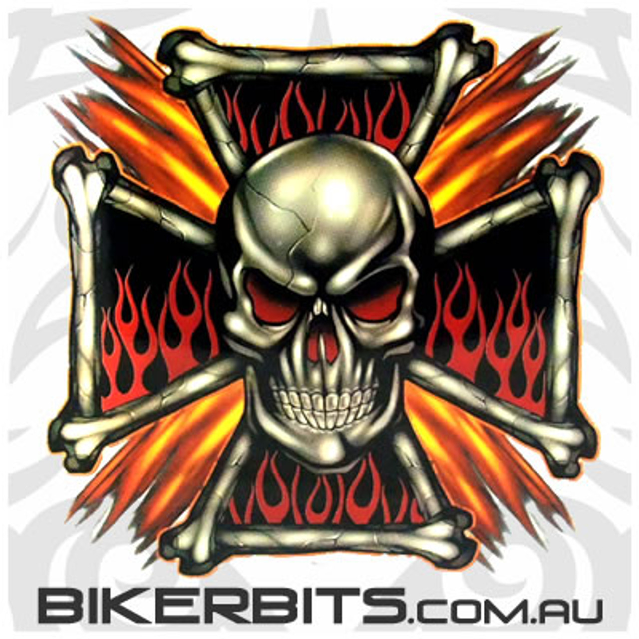 Biker Decal - Flame Cross Skull