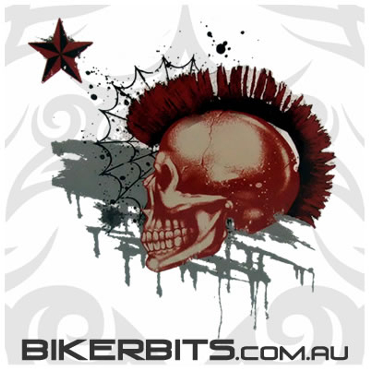 Biker Decal - Mohawk Skull