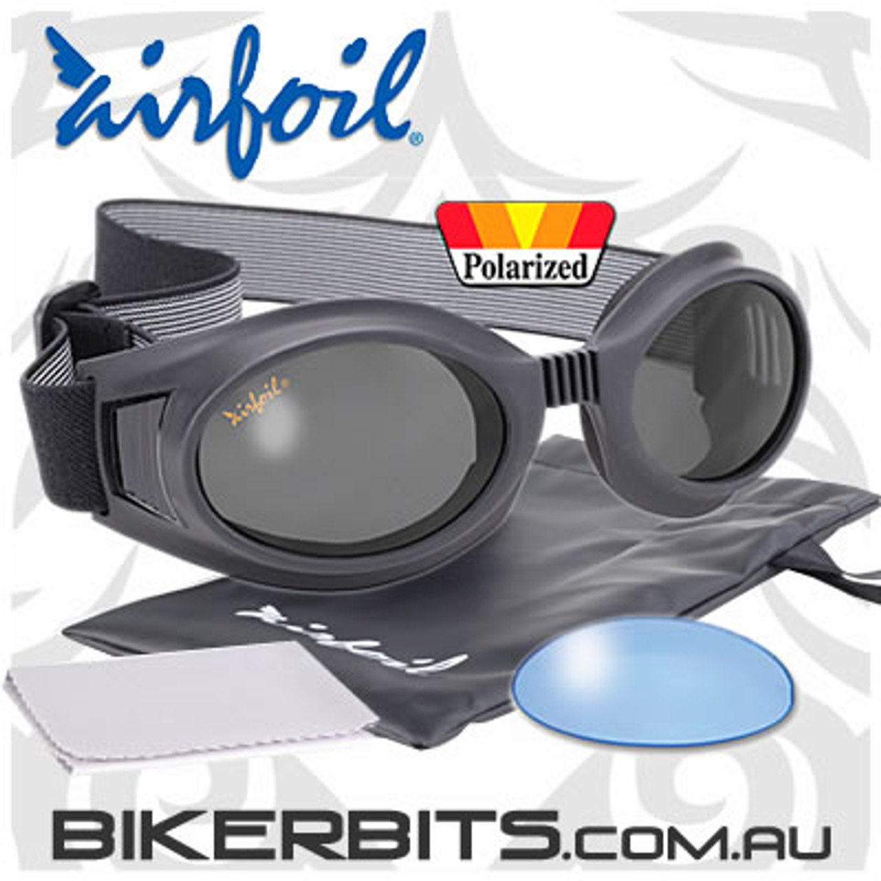 Motorcycle Sunglasses/Goggles - Airfoils - 7617 - Polarized Grey