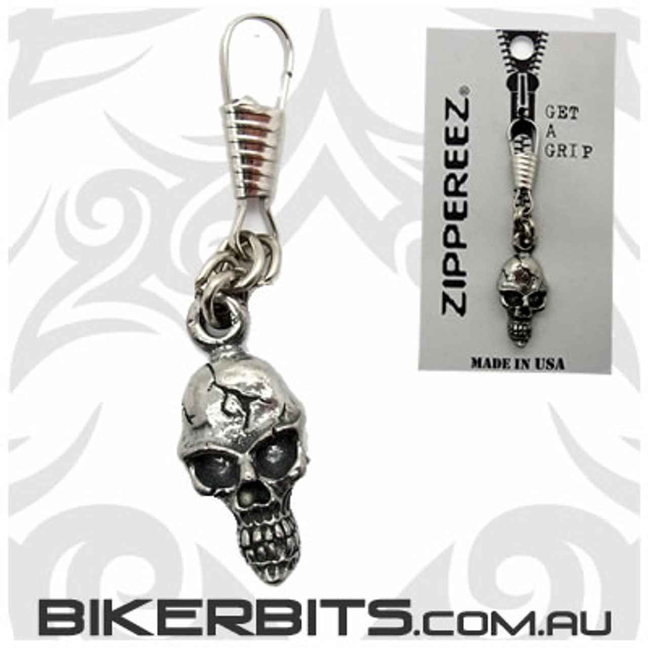 Zippereez Zipper Pull - Cracked Skull