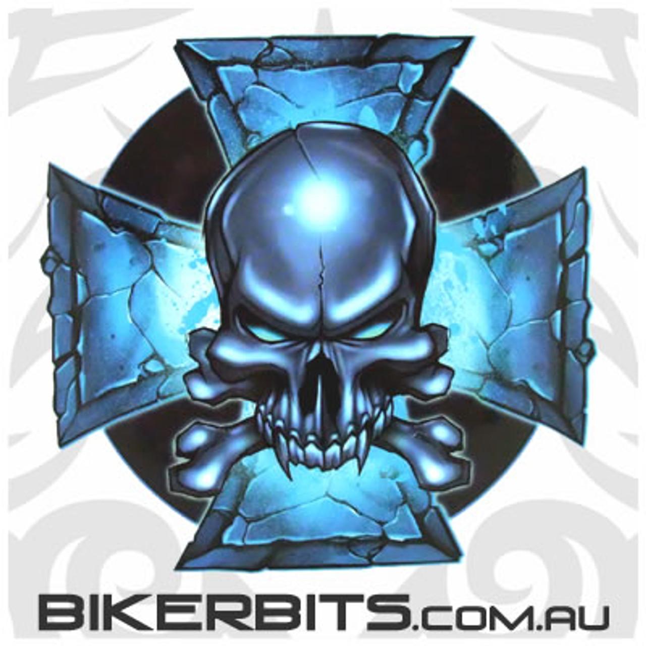 Biker Decal - Blue Stone Iron Cross & Skull
