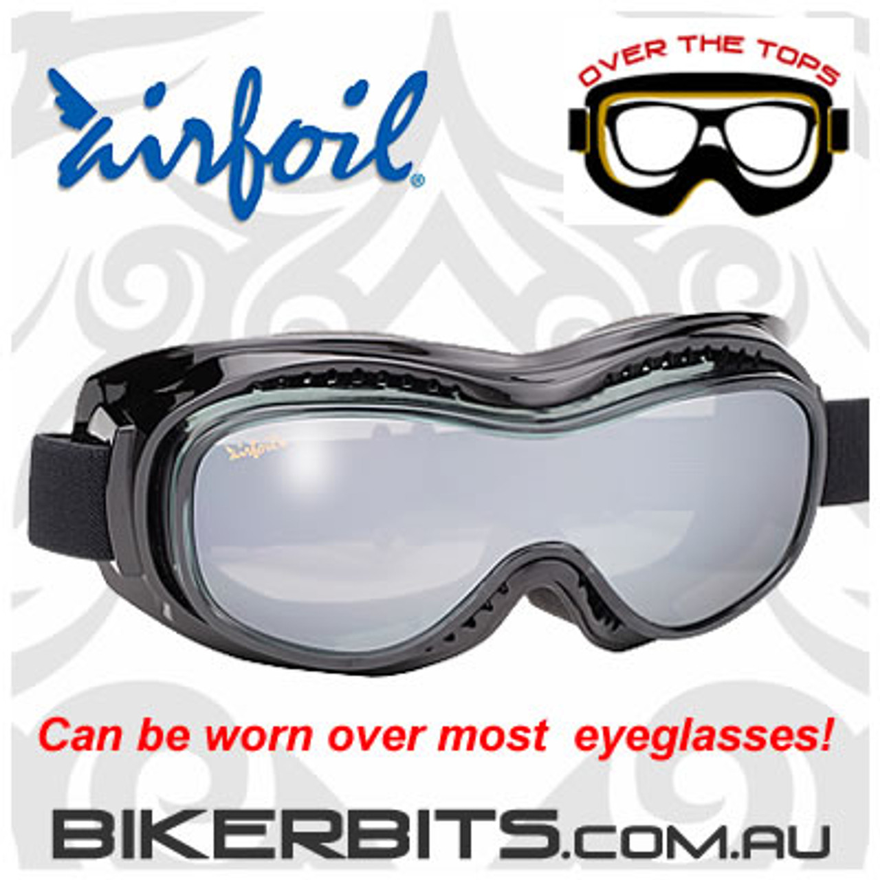 Motorcycle Goggles - Airfoils - 9300 - Smoke Silver