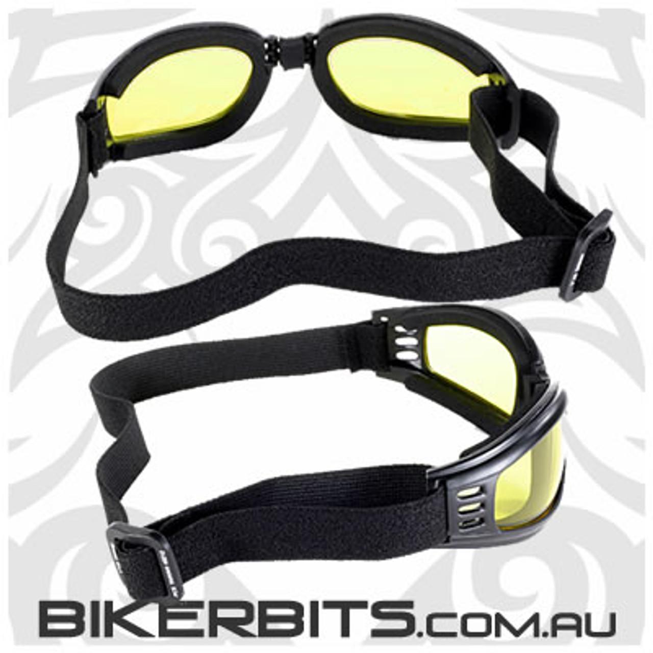 Motorcycle Goggles - Kickstart Nomad - Yellow/Black