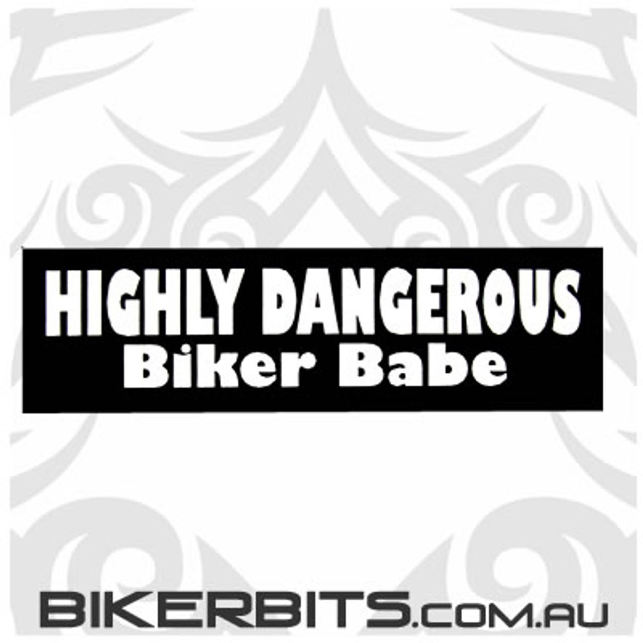 Helmet Sticker - Highly Dangerous Biker Babe