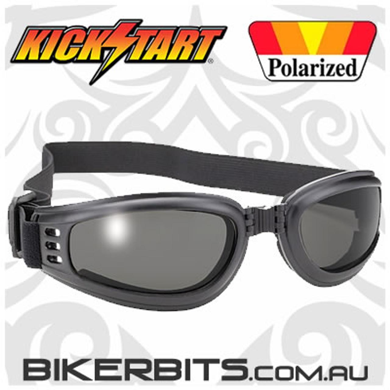 Motorcycle Goggles - Kickstart Nomad - Polarized Smoke/Black