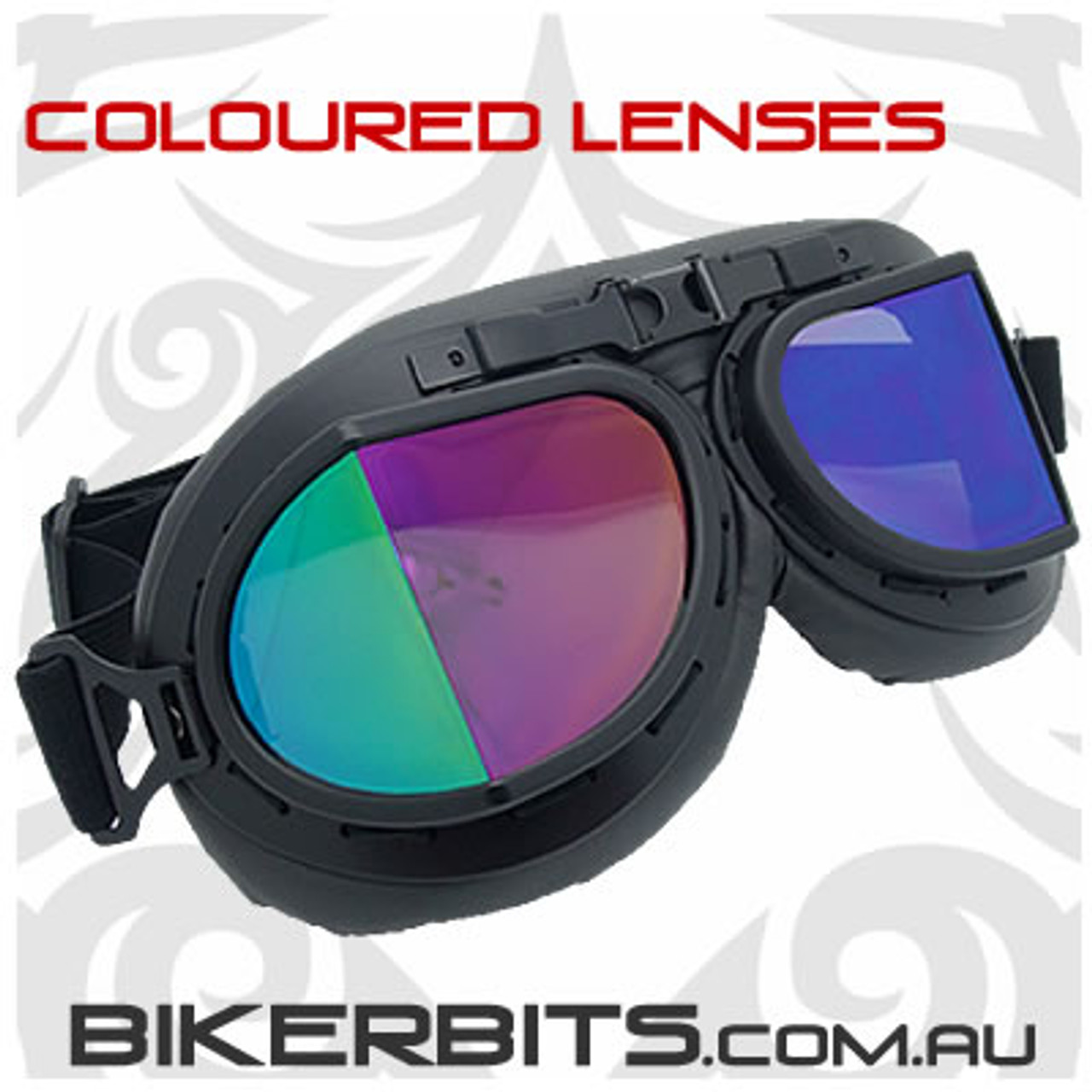 Vintage Style Pilot Goggles - Black with Coloured Lenses