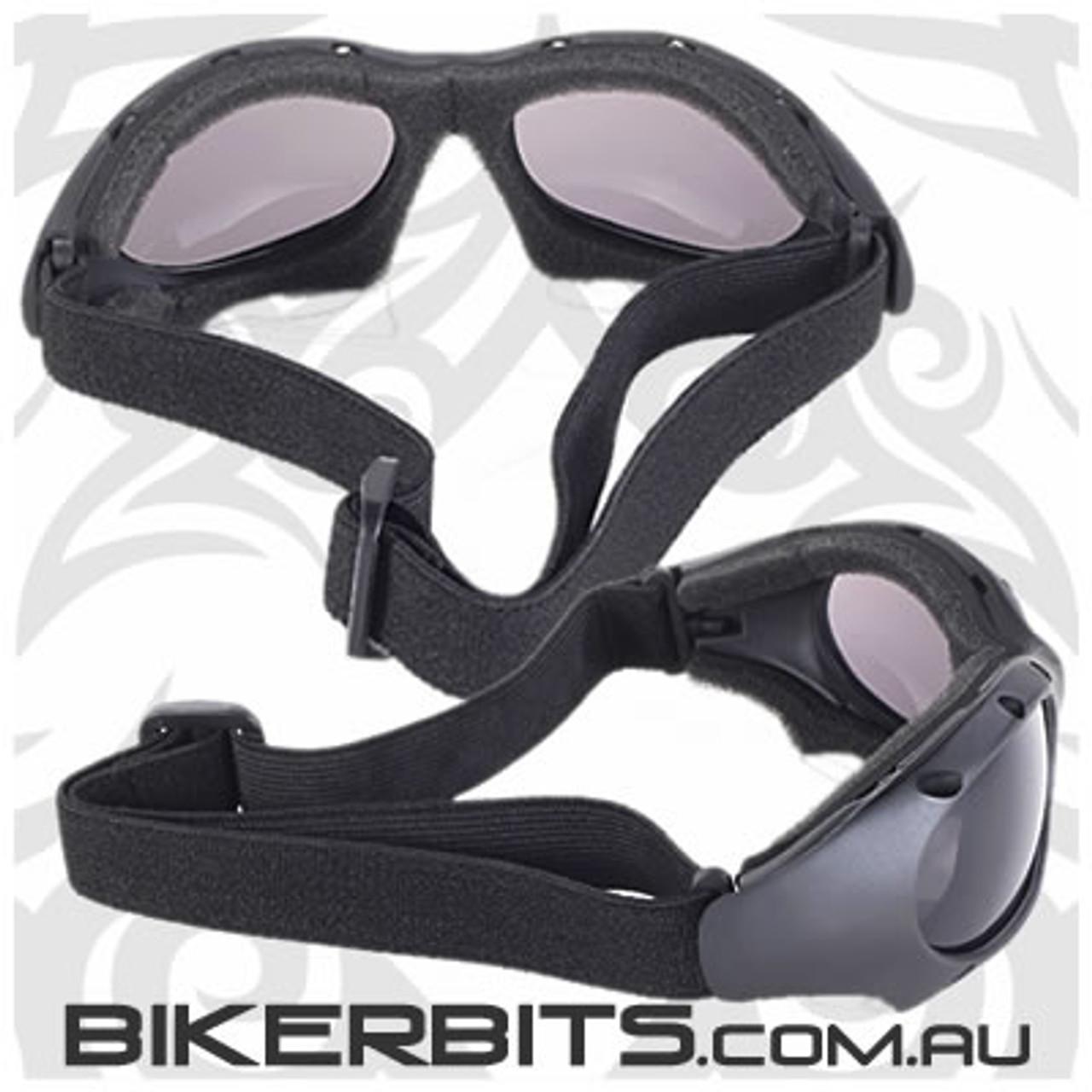 Motorcycle Goggles - Kickstart Dominator - Smoke/Black