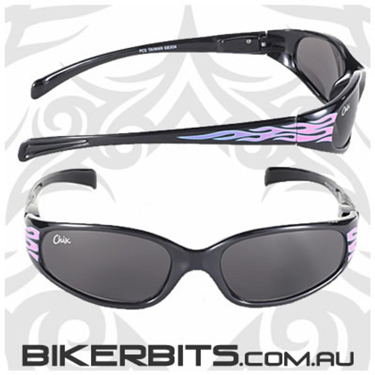 Motorcycle Sunglasses - Chix Heavenly Flame - Smoke/Black