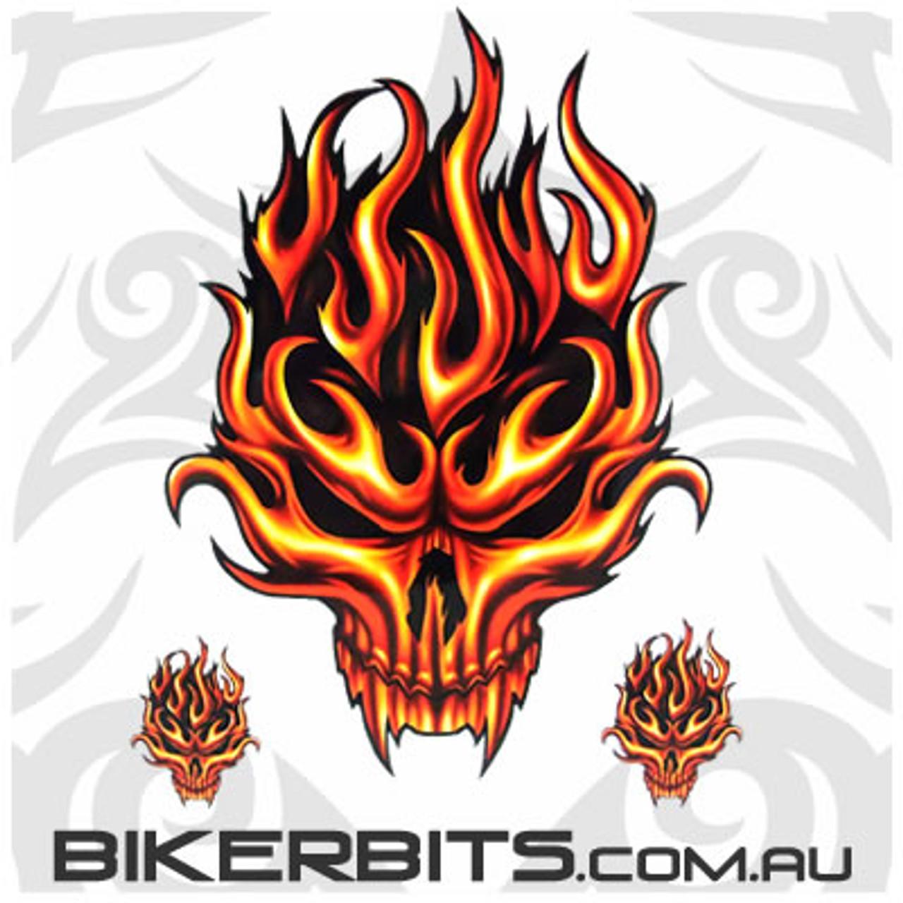 Biker Decal - Flame Skull Set