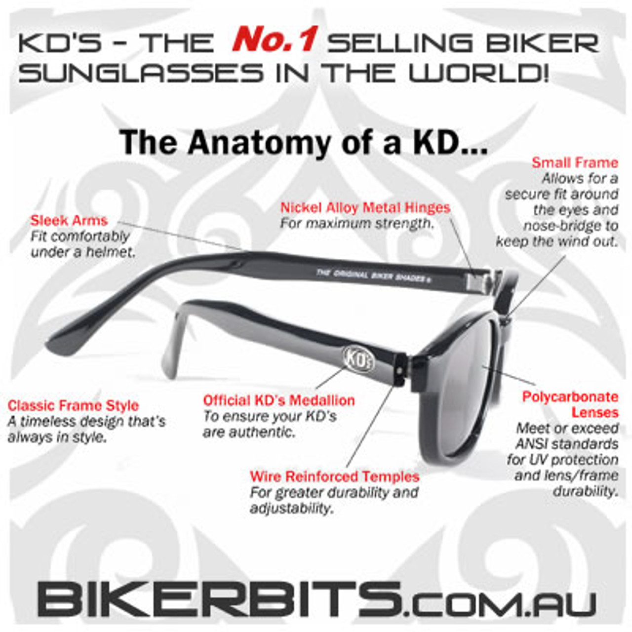 Motorcycle Sunglasses - KD's Black - Light Blue