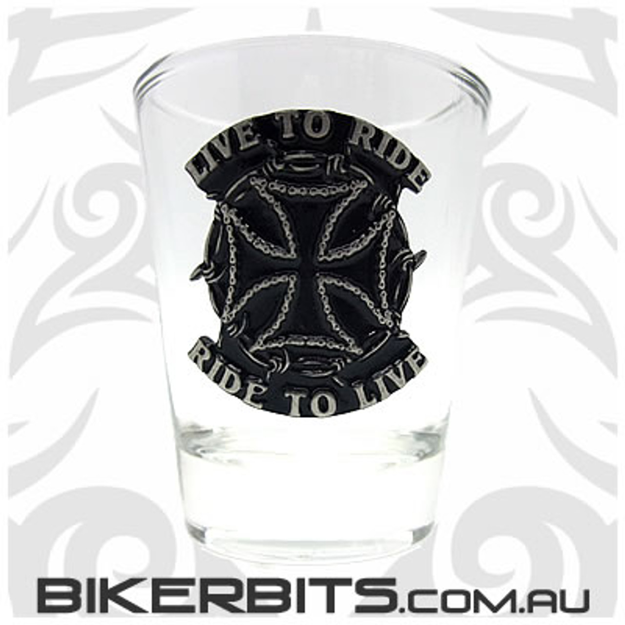 Shot Glass - Iron Cross - Live to Ride - Ride to Live