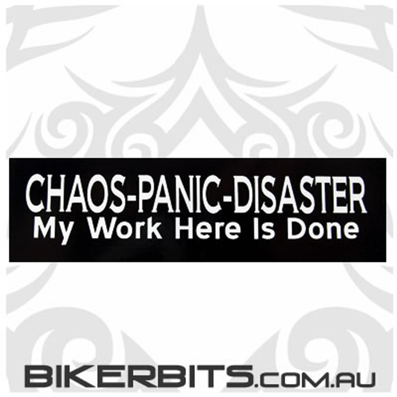 Helmet Sticker - CHAOS-PANIC-DISASTER