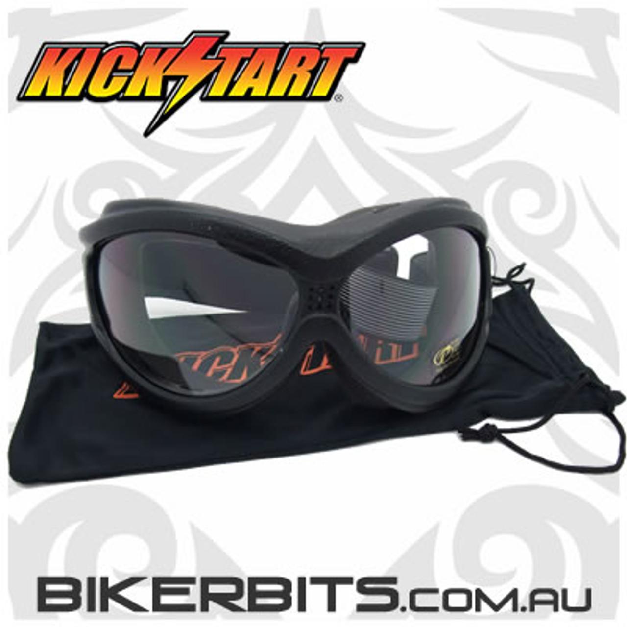 Motorcycle Goggles - Kickstart Beast- Clear/Black