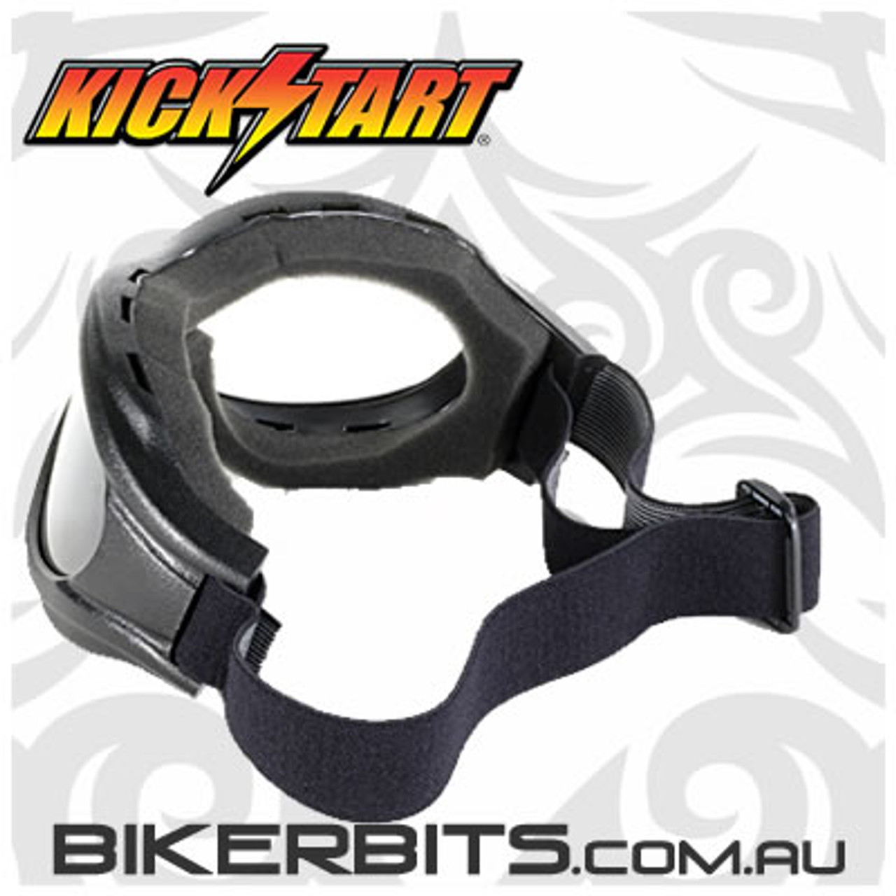 Motorcycle Goggles - Kickstart Beast- Clear/Black