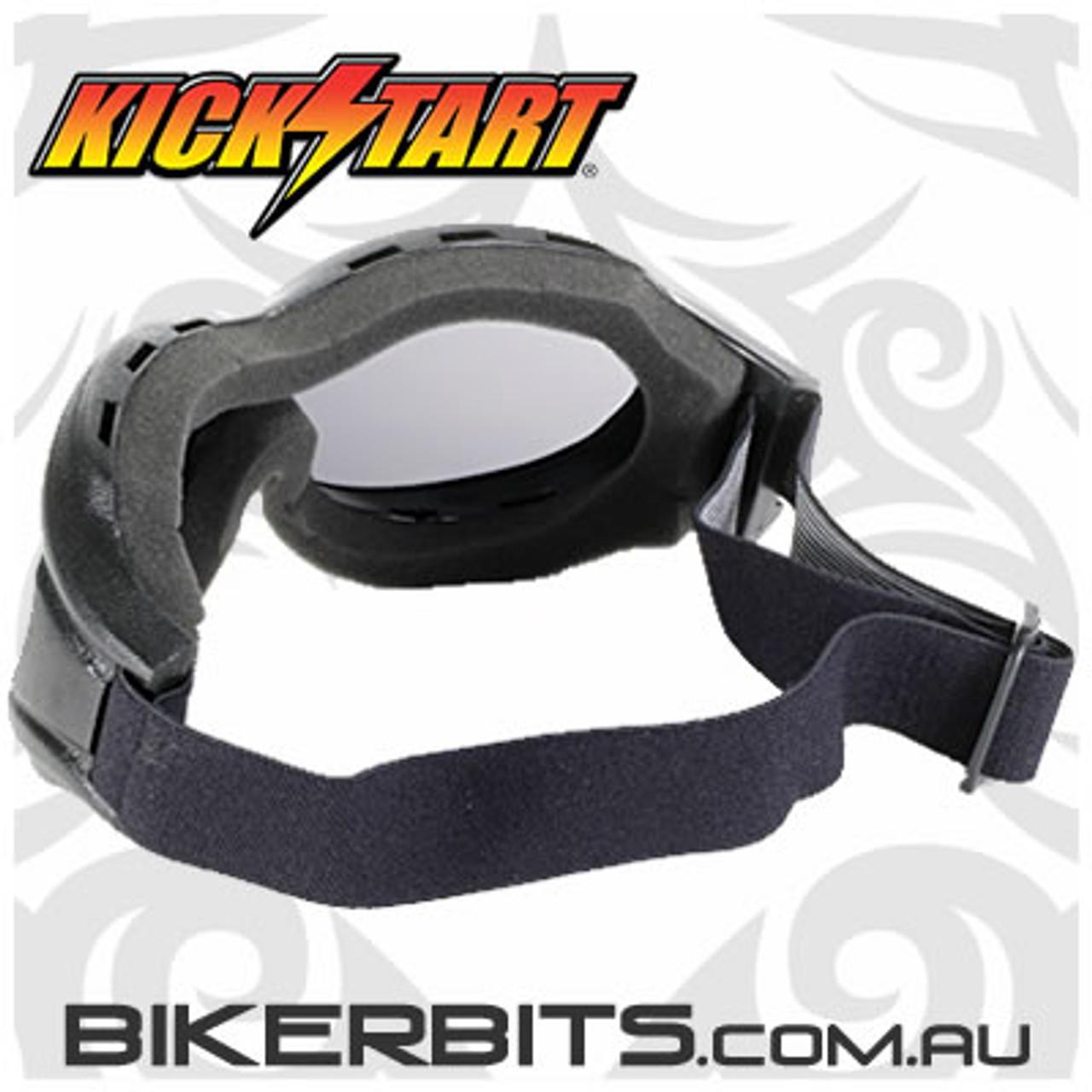 Motorcycle Goggles - Kickstart Beast- Smoke/Black