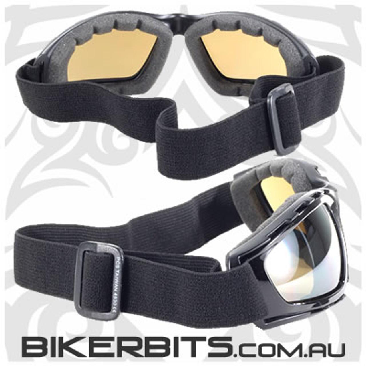 Motorcycle Goggles - Kickstart Force - Brown Lens /Silver Mirror